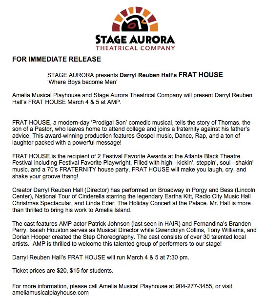 Stage Aurora FRAT HOUSE press release